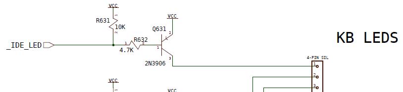 IDE LED schematic of Amiga 600/1200